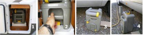 Ledigen van de toilet cassette van een camperbus